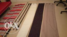 7 pieces curtains and 3 rods