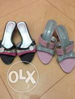 Used heels slippers of ladies for sale,Size 38,Both for Ro 1.5