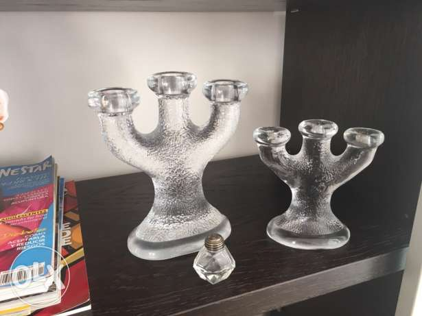 Cristal decoration, 2 candle holders