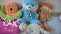 Teddy bear + doll + Cat + caterpillar shape small pilow