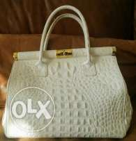 Crocodile print leather bag
