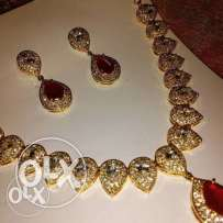 american crystal and ruby necklace