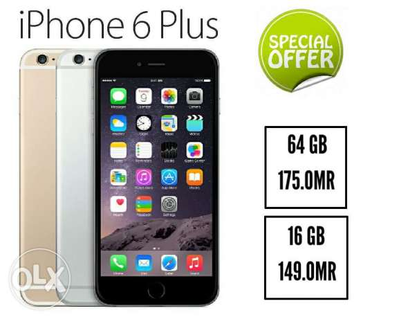 Iphone 6+ 16 and 64 gb with 5 gifts and waranty