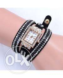 Diamond Watch Rectangle Dial Long Leather Band for Women