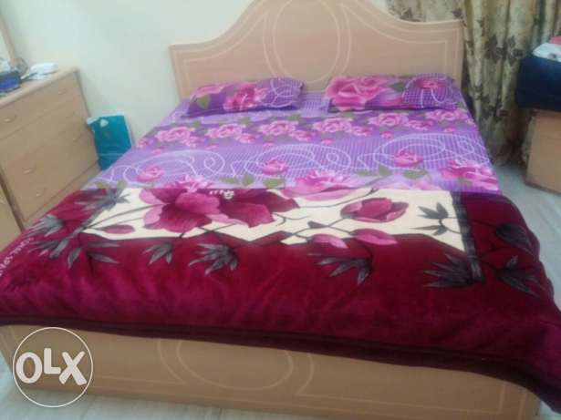 Double bed Set with Mattress, two side tables and dressing table