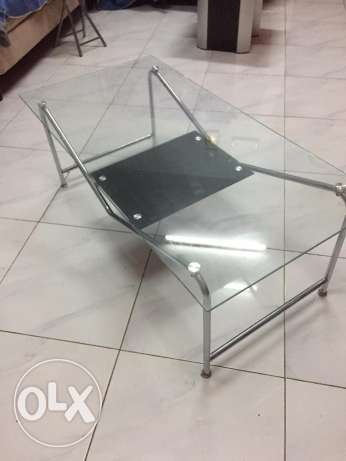 Central and side table made of Tempared glass