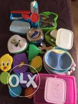 Unused kids lunch boxes & kids plates (some used)