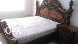 Big heavy bed with mattress and 2 side tables