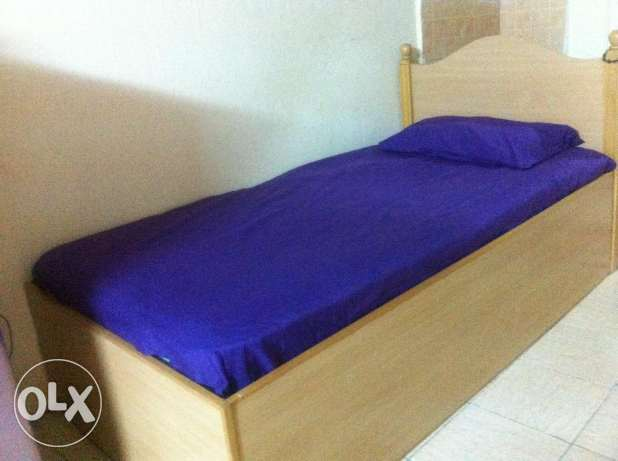 WOOD COT+ innerSPRING MATTRESS & side table - ( single bed )