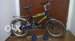 kids bicycle with supporting wheels and stand