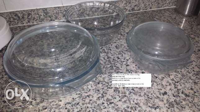Microwave Cooking Glass Bowls - 3 Sets