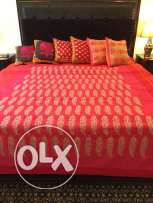 Embroidered bed spread and cushion covers