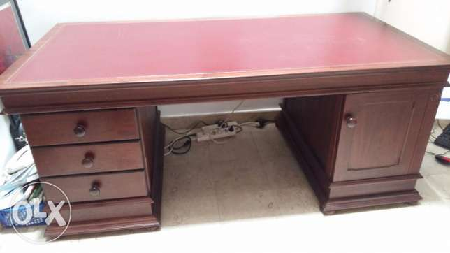 Solid dark wood leather top desk for sale