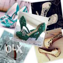 Bridal shoes (white, green,gold) & Evening shoes