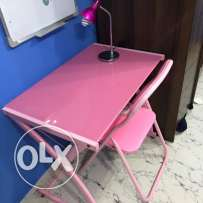 full Pink child study table, seat and desk study lamp