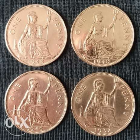 Coin - 4 British Coins Penny. King George VI - UK مسقط -  1