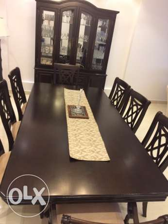 8 Seater Dinning Table with Buffet (Solid Wood) مسقط -  1
