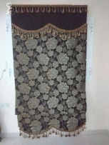Turkish hand made Curtains brown and dark red with blackout( 4m*3.3 m)