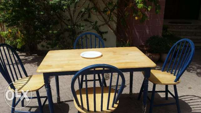 Small dining table with 4 chairs, wood