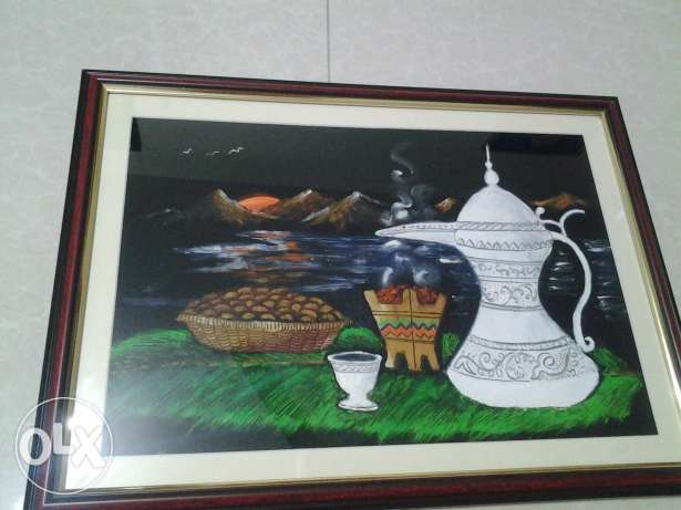 """Iftar sunset""- Oil painting on blue velvet. Mount Framedwith glass."