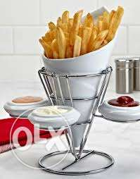 french fries holder with 3 small bowl