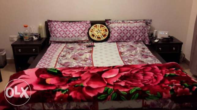 Q Size bed with side tables, 3 door cupboard and dressing table