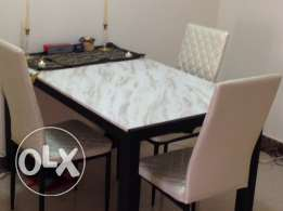 Marble Top Dining Set with 6 Chairs - Good as new reduced price