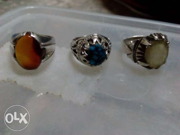 3silver rings with orignal stones