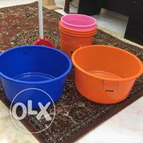 five dust bins two bath tubs and mope and spade for just omr 3