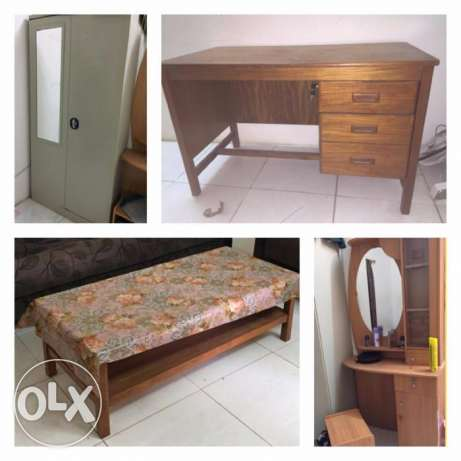 dressing table, center table, cupboard and writing table