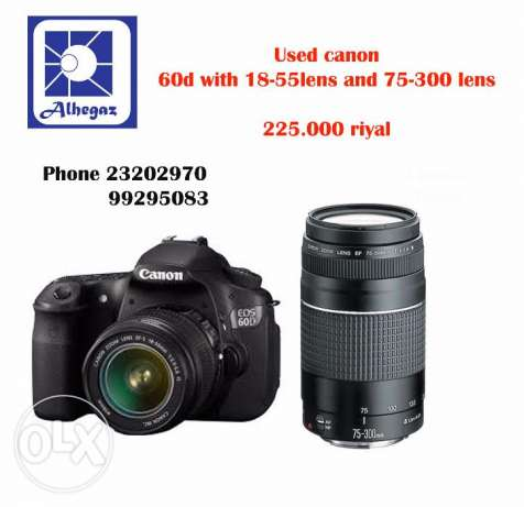 Used canon 60d with 18-55 and 75-300 lens