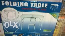 folding aluminium picnic table with 2 chairs