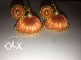 Handmade silk thread earring
