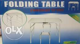 folding, portable aluminum table with 2 chairs- 90cm x 60 cm