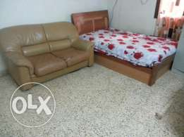 Bed and Leather Sofa For Sale With Matress