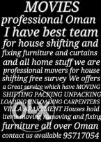 Professional Oman MOVERS in all over Oman fixing furniture