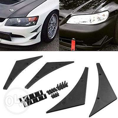 4Pc Universal Car Front Bumper Lip Splitter Fins Body مسقط -  4