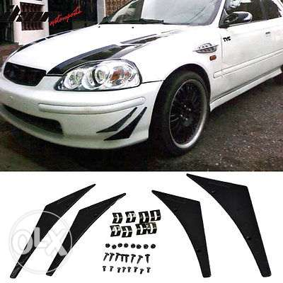 4Pc Universal Car Front Bumper Lip Splitter Fins Body مسقط -  5