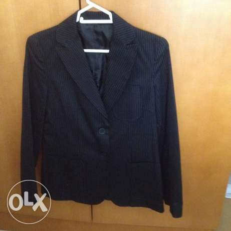 Topshop ladies jacket blazer. Navy with black pinstripes. Size 10