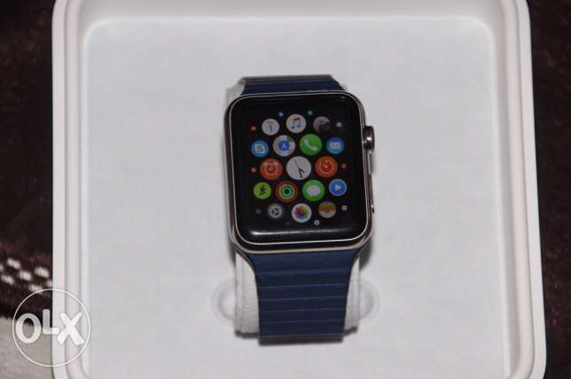 Apple watch Stainless steel with leather case- ساعة آبل ستيل بركاء -  3