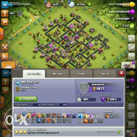 clash of clans account.. th8 max..