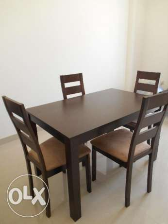 Rectangular table & 4 chairs, brown color