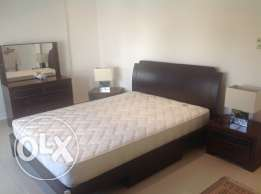 Bed queensize with mattress & dressing table + 2 x bedside cabinets