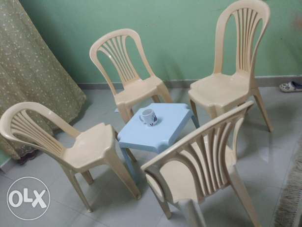 4 chairs with table