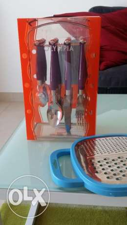 Set of Unused cutlery with Grater مسقط -  3