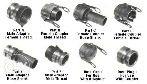 Hose Coupler, Camlok, Pipe fittings, Flanges, Valves