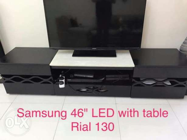 "TV (Samsung 46"" led) with table and washing machine (LG -6kg)"