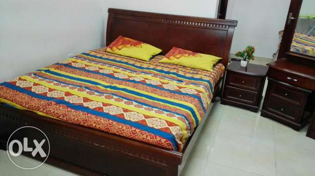 Bed, mattress, side table