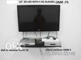 "LG 32"" led 3D tv with 4 eye glasses"