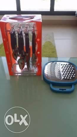 Set of Unused cutlery with used Grater مسقط -  1